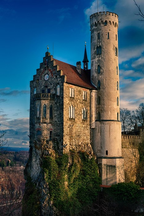 tower castle building old sky ancient goth like landmark stone historic wall