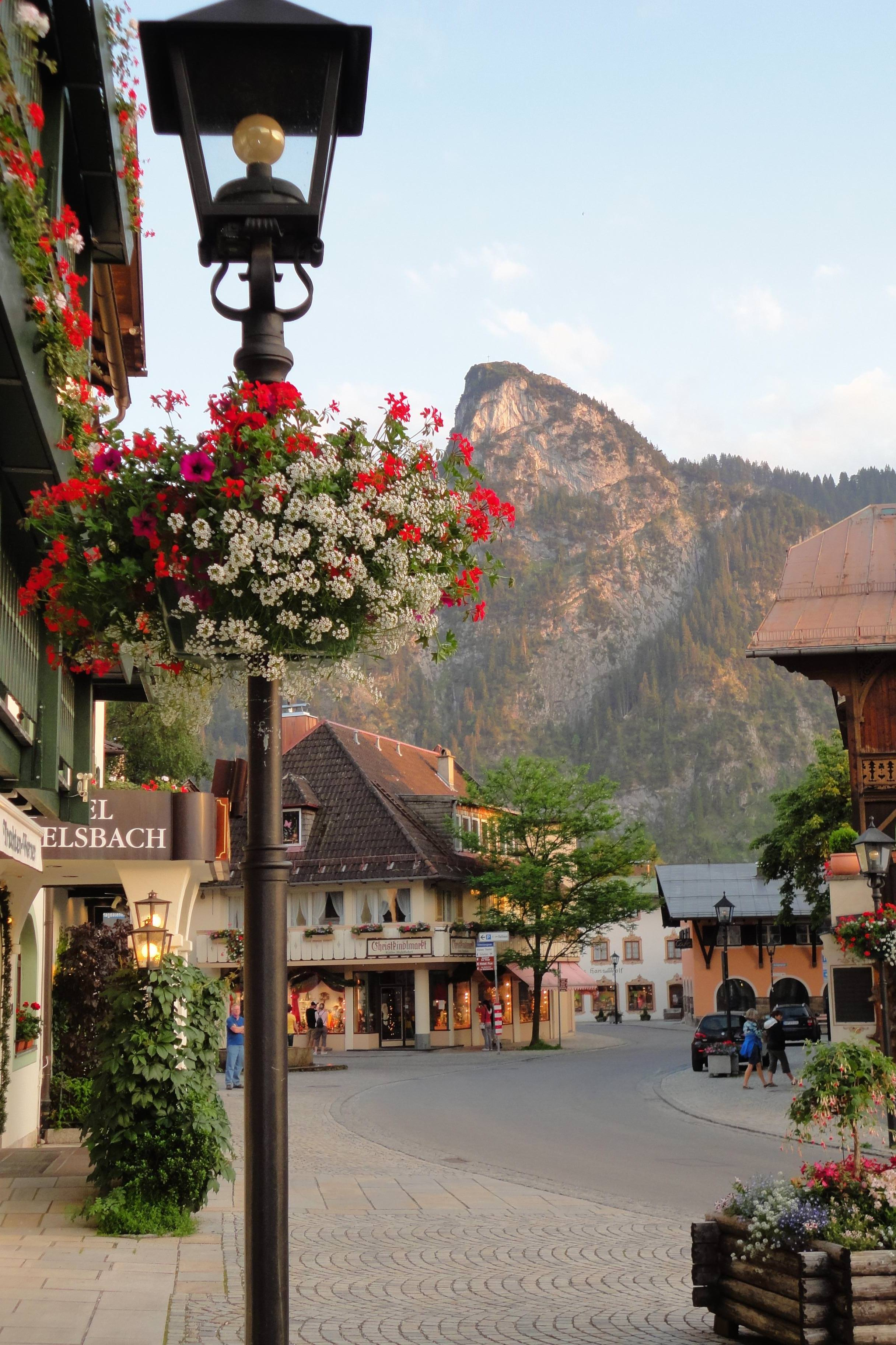 mountain city flowers house travel town street tourism vacation outdoors