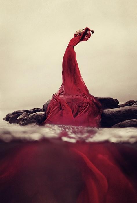 red dress girl art woman people wear adult motion landscape stones
