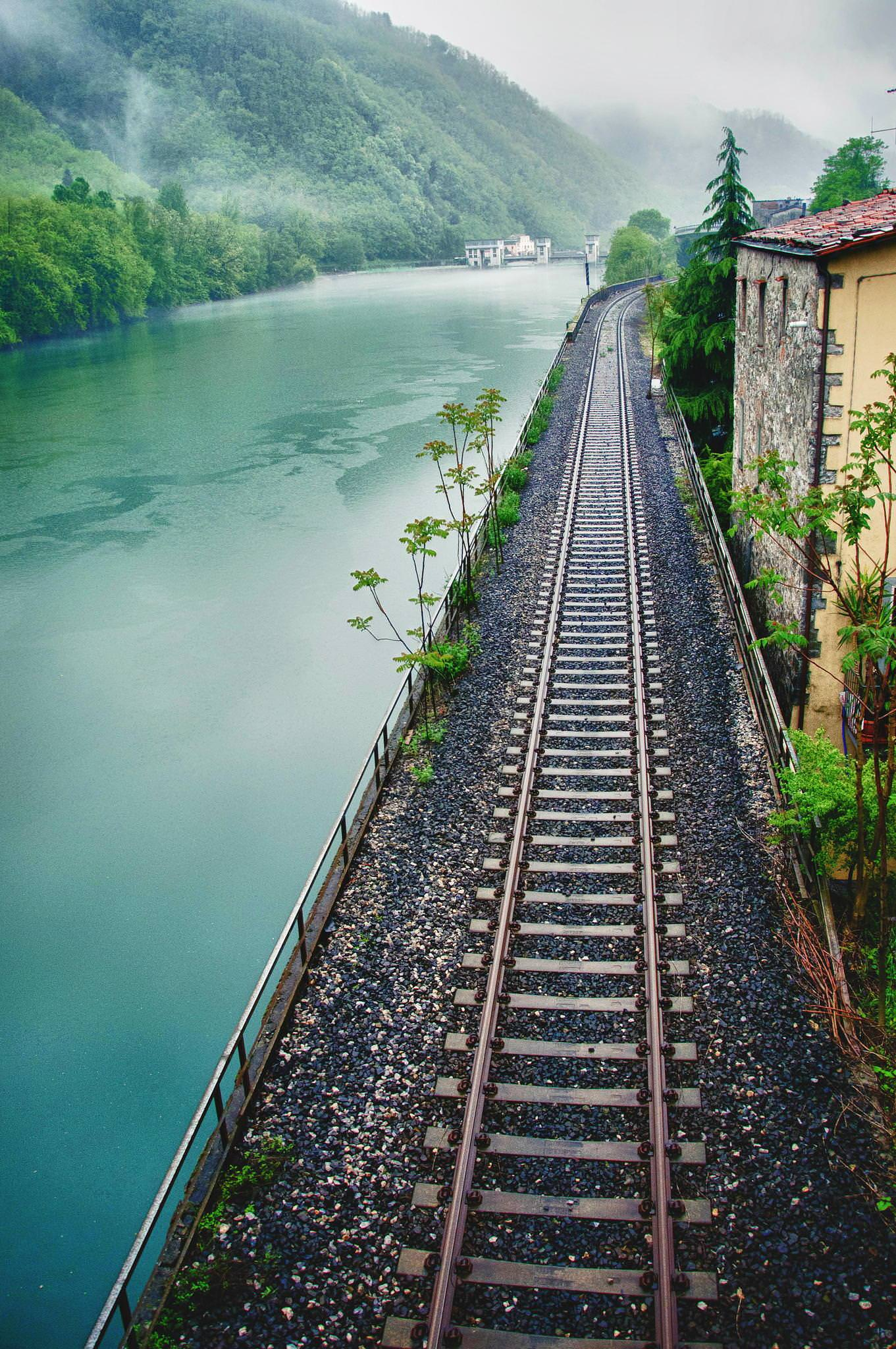 railway river travel nature wood bridge guidance trip trees house