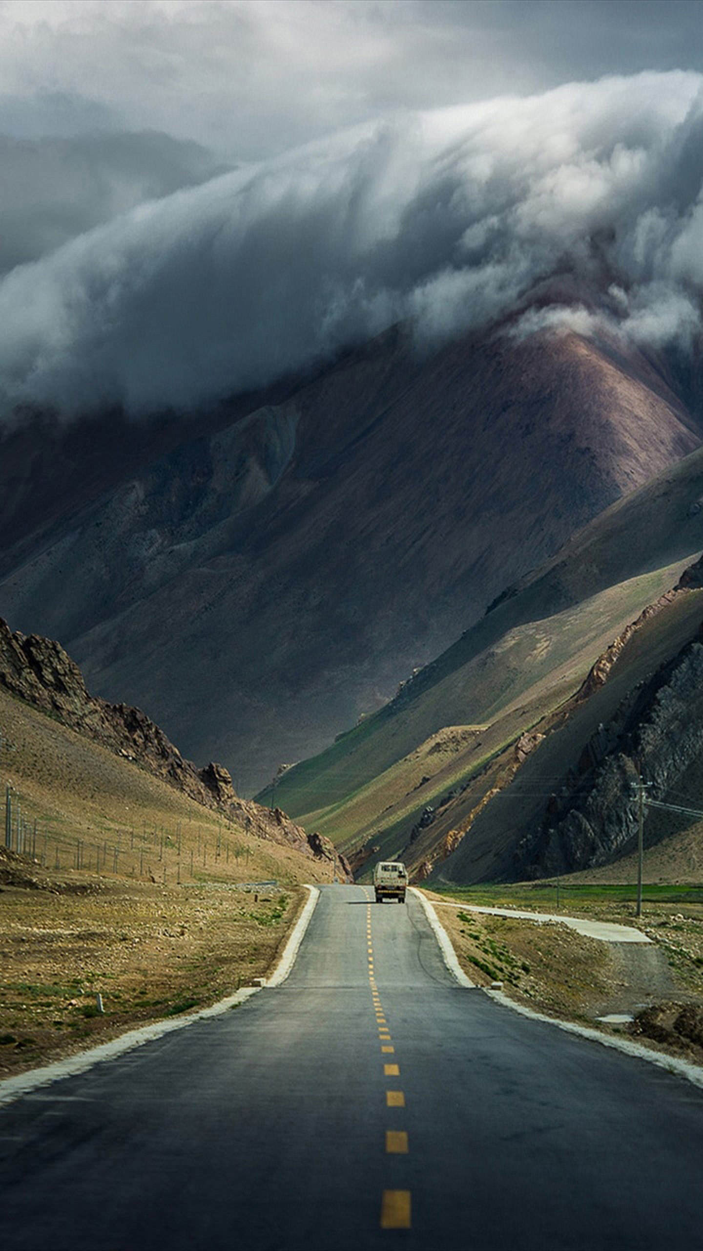 mountain road cloud landscape travel road snow sky nature fog volcano