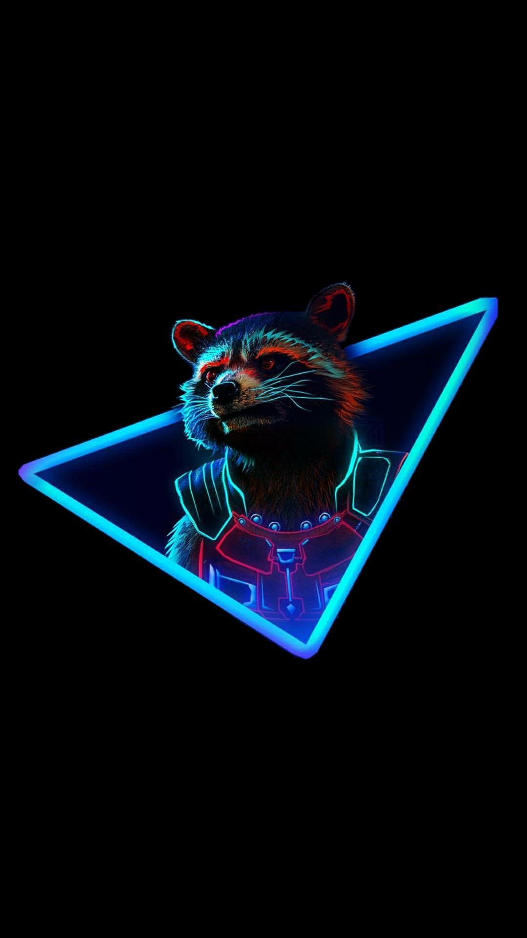 raccoon rocket marvel neon dark hero comics guardians galaxy