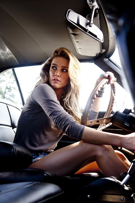 amber heard vehicle car girl people adult sexy seat portrait