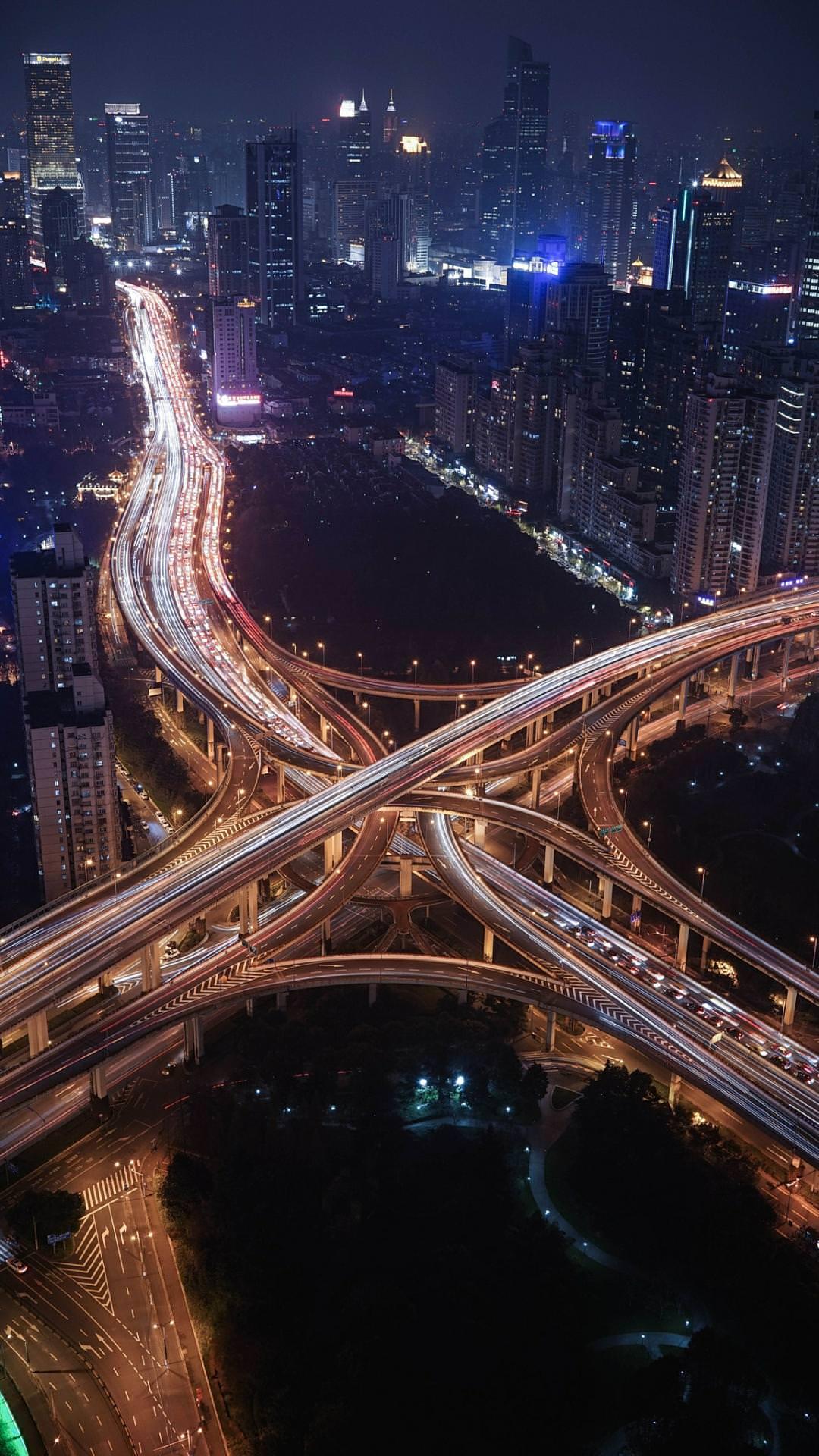highway road traffic evening travel city bridge light blur dusk motion