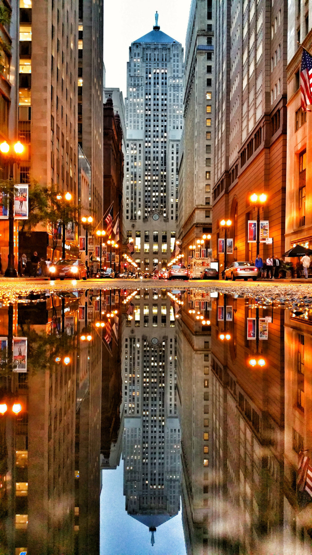 chicago usa city architecture urban travel business street building lights skyscraper reflection traffic