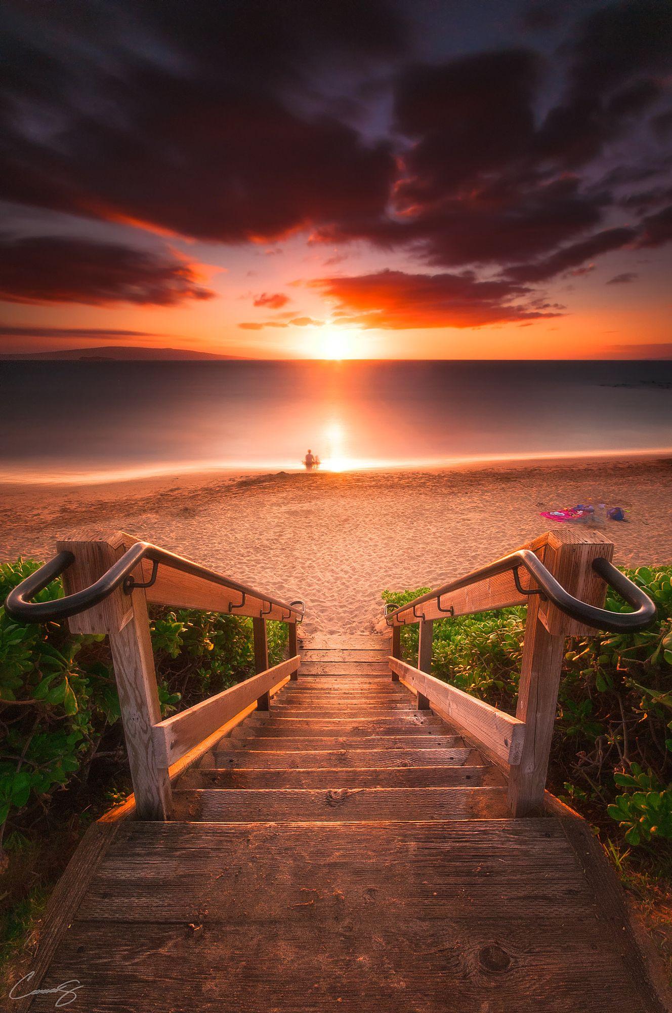 sunset water sun nature stairs travel sky beach light summer sea